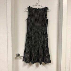 Asymmetrical black and white polka dot tank dress